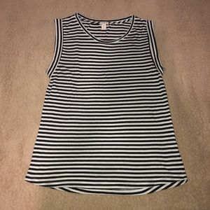 J.crew striped sleeve less T-shirt!